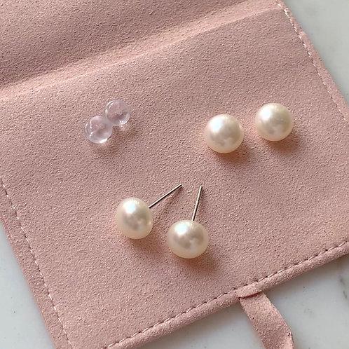 LIANA | Silver 925 Freshwater Pearl Earrings (Button shape)