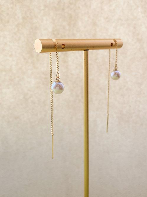 LEILA | 14K Gold-Filled Akoya Pearl Threader Earrings