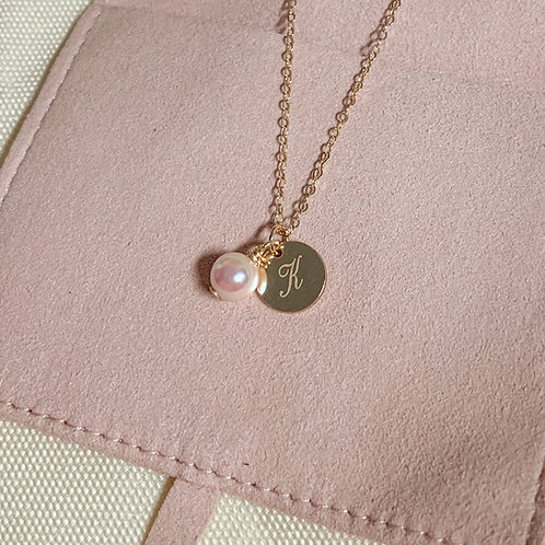 INITIAL |  14K Gold-Filled Akoya Pearl Initial Necklace