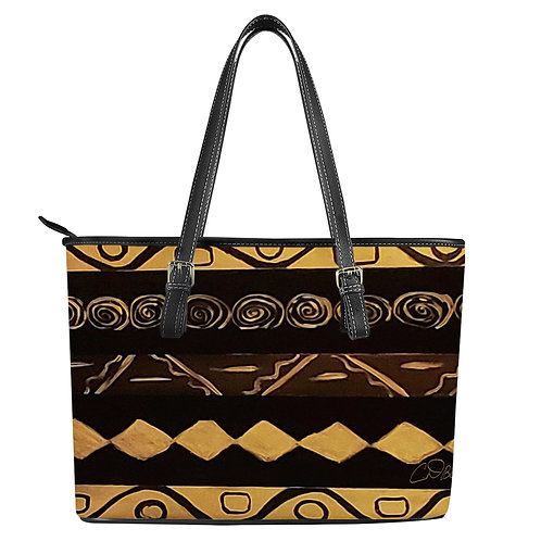 Black and Gold Leather Tote Bags