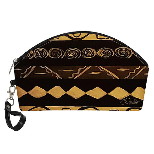 Black and Gold pattern Curve Cosmetic Bags