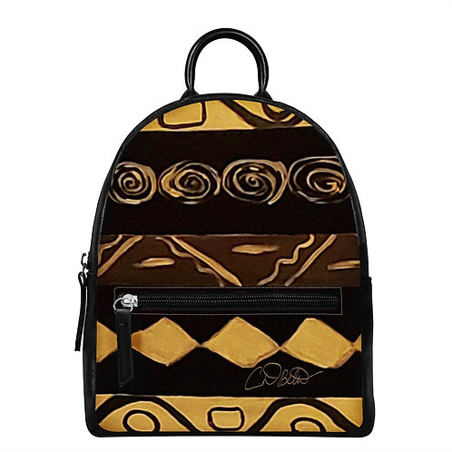 Black and Gold PU Backpack