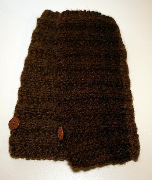 Manchettes  brunes, filées et tricotées main