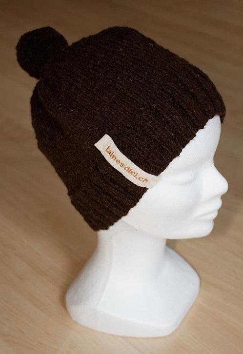 Bonnet Brun Noir du Pays avec pompon