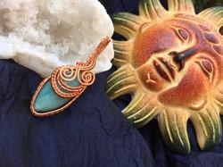 Aventurine and copper wire wrap pendant