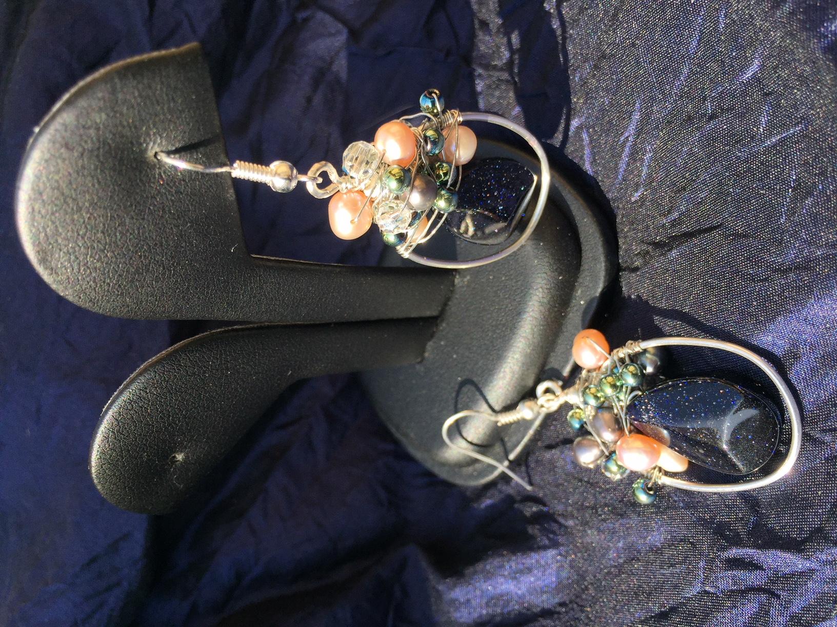 Blue gold sand earrings