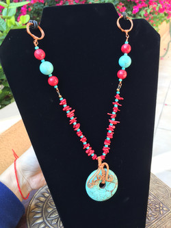Turquoise and sponge coral necklace