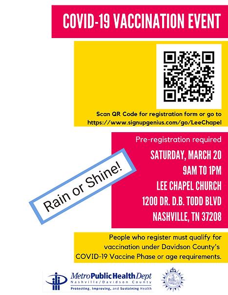 COVID-19 Vaccine Event Lee Chapel Church