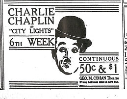 "Old advertisement for Charlie Chaplin in ""City Lights"""