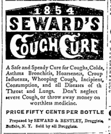 Old advertisement for Seward's cough cure