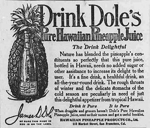 Old advertisement to Drink Dole's Pineapple Juice