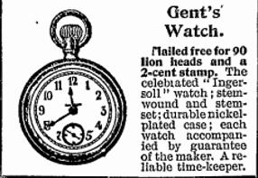 Old advertisement for a Gent's Watch