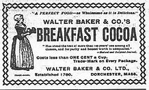 Old advertisement for Walter Baker Breakfast Cocoa