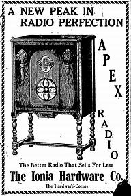 Old advertisement for Apex Radio