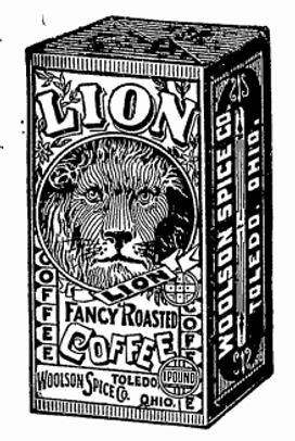 Old advertisement for Lion fancy roasted coffee