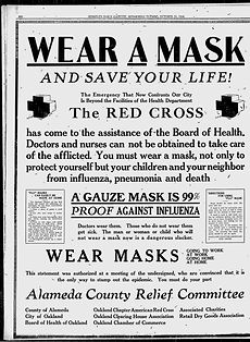 Old advertisement to wear a mask during the Spanish Flu