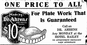Old advertisement for dentures