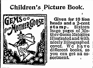 """Old advertisement for Children's picture book """"Gems From Mothergoose"""""""