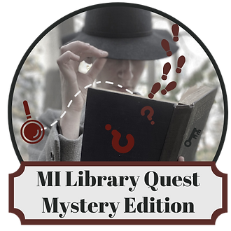 MiLibraryQuest logo with a mysterious mysterious figure holding an open book with footprints and question marks falling out