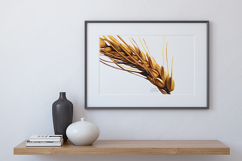 Wheat Stalk, Close up, Watercolor Print, Farmhouse Style, Wall Decor