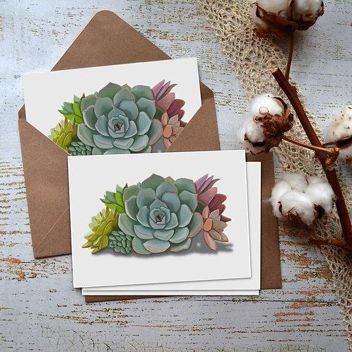 Succulents Watercolor Notecards, Botanical Bouquet Art, Cactus