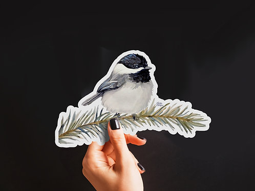 Chickadee Sticker, Watercolor Bird, Matte Vinyl Stickers, Pine Branch, Animal