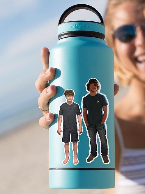 Custom People Sticker, Kids, Wedding Family Gift Matte Water Bottle Photo