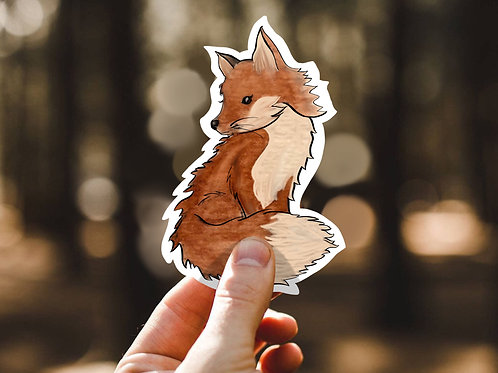 Little Fox, Watercolor Sticker, Woodland Animals, Vinyl Sticker
