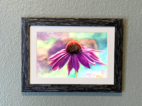 Purple Flower, Coneflower 5x7 Framed, Watercolor Floral Print, Matted, Echinacea
