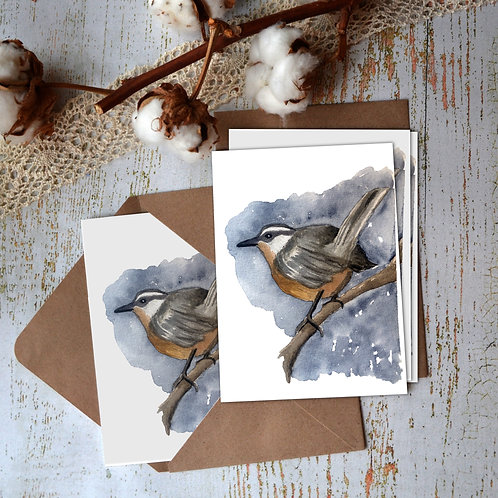 Nuthatch Bird, Watercolor Notecard