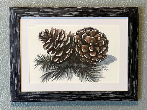 Pinecones, 5x7 Framed, Watercolor Print, Matted, Gift
