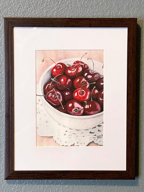 Bowl of Cherries, 8x10 FRAMED, Watercolor Print, Red Berries, Matted, Gift