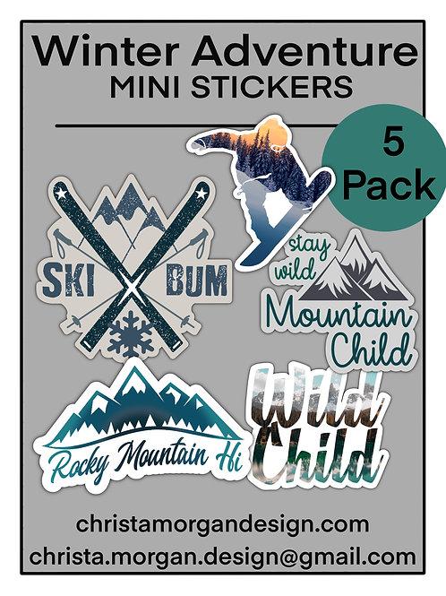 Winter Adventure Mini Stickers, Set of 5, Skiing, Snow, Snowboarding, Mountains