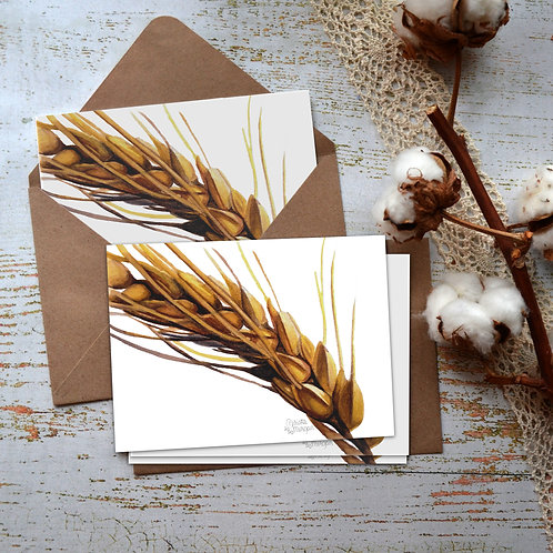 Wheat Notecards, Watercolor Print, Card Set, Montana Farm Art, Stationary