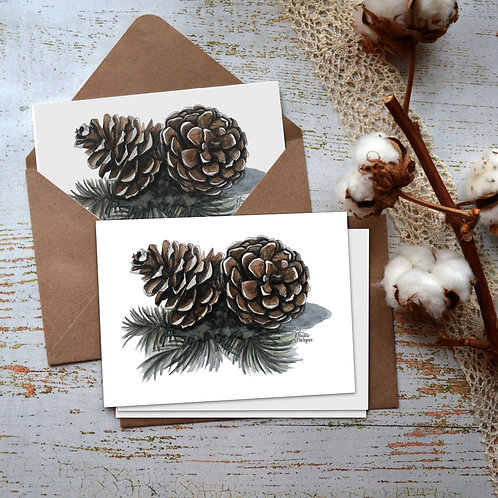 Pinecones & Needles, Watercolor Notecard