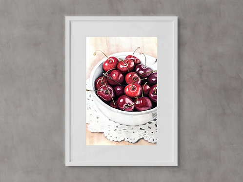 Cherry Art Print, Bowl of Cherries Red Berry Watercolor Print, Watercolor Giclee