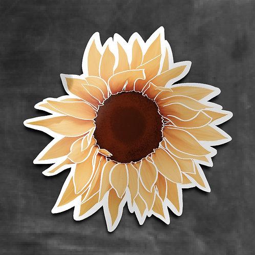 Sunflower Decal, Large Blossom, Vinyl Sticker