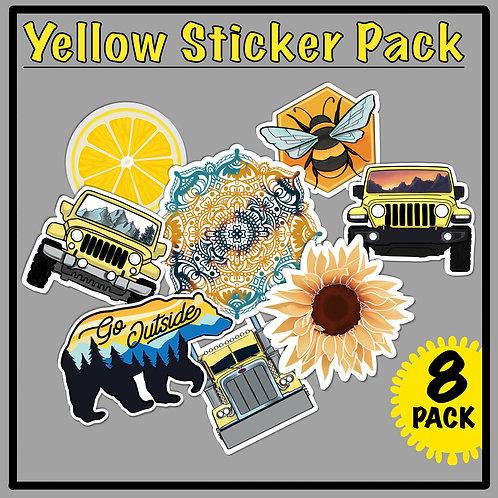 Yellow Sticker Pack, Set of 8, Bee, Jeep, Sunflower, Lemon, for Water Bottle