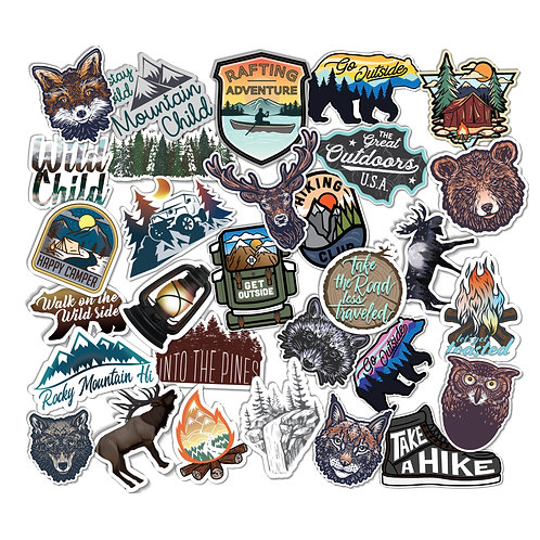 Sticker Pack, 30 pcs, Outdoor Adventure, Camping, Hiking, Mountains Vinyl Decals