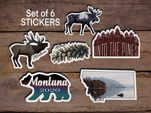 Montana Stickers, Mini Sticker Pack, Set of 6