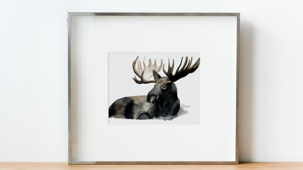 Moose Watercolor Art Print