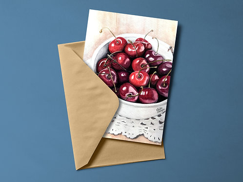 Cherries Notecards, Watercolor Cards, Bowl of Cherries, Red Cherry Art