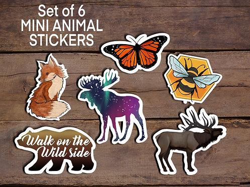 Animal Stickers, Mini Sticker Pack, Set of 6