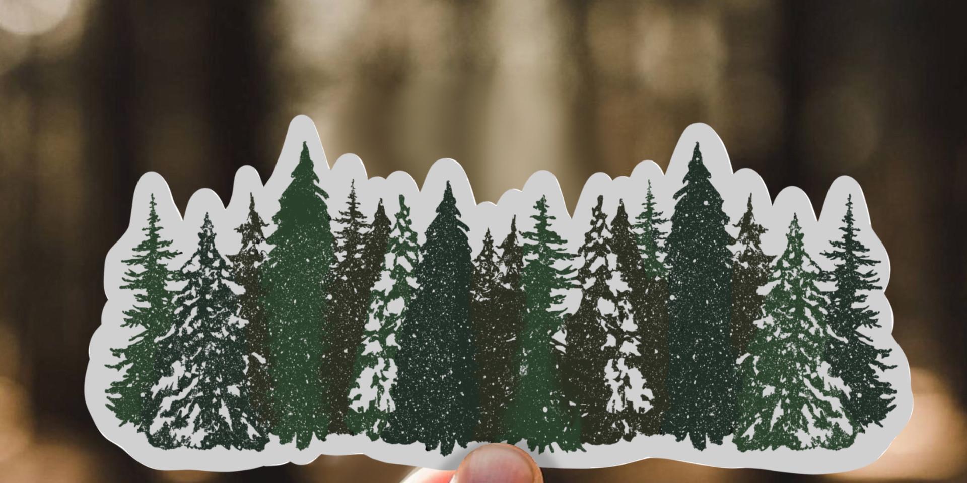 Row of Pines Sticker
