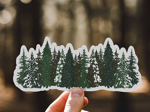 Row of Pines, Matte Vinyl Sticker, Mountains, trees, hiking, Hydroflask