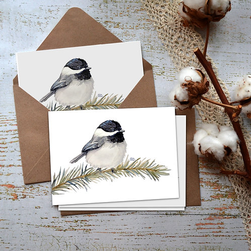 Chickadee Watercolor Notecards, Perched on Pine Branch