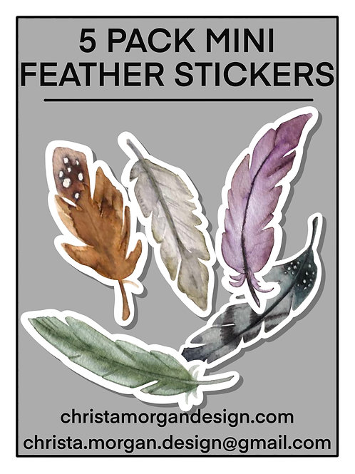 Feather Stickers, Mini Sticker Pack, Set of 5
