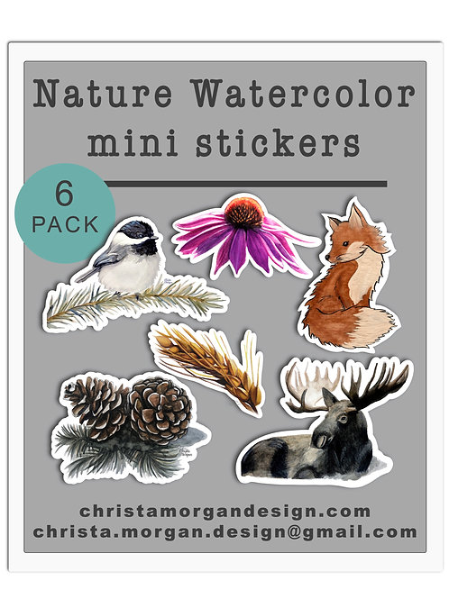 Nature Watercolor Stickers, Mini Sticker Pack, Set of 6, Moose, Bird, Fox