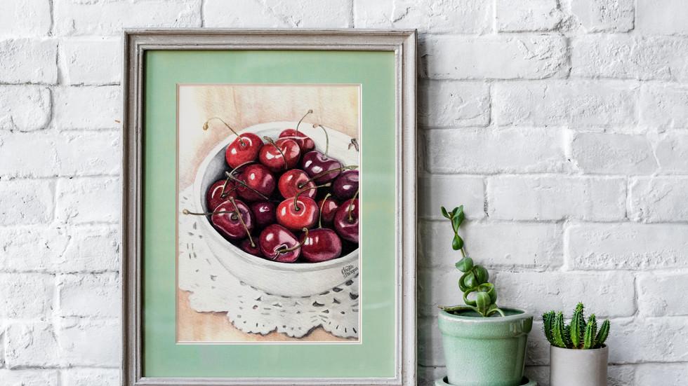 Bowl.of.cherries.framed.green.mat.jpg