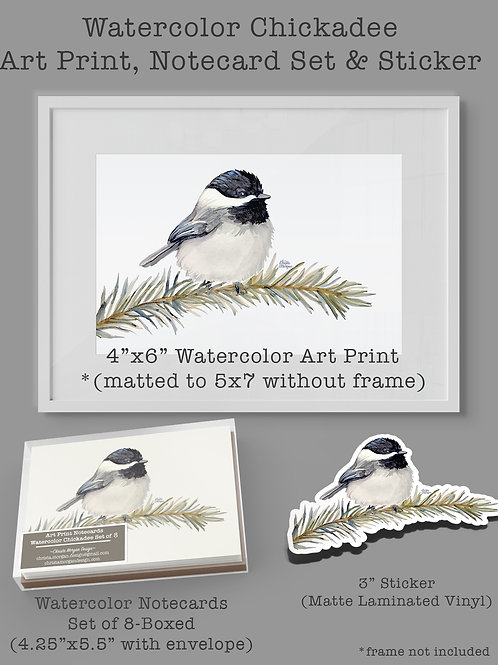 Watercolor Chickadee Gift Set, 4x6 Bird Art Print, Set of 8-Notecards, Sticker